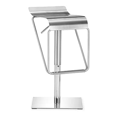 Zuo Stainless Steel Dazzer Barstool, Stainless Steel