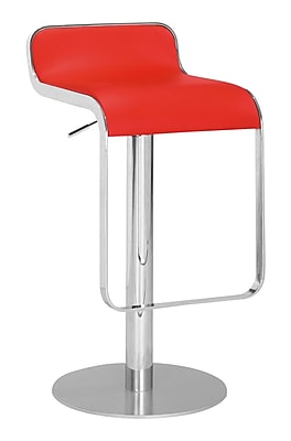 Zuo® Leatherette Equino Barstool, Red