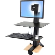 "Ergotron® 33-351-200 WorkFit-S Sit-Stand Workstation for 30"" LCD Monitor, Black"
