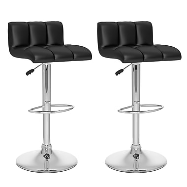 CorLiving™ Tufted Leatherette Low Back Adjustable Bar Stool, Black