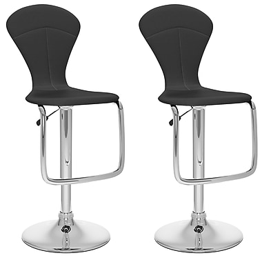 CorLiving Not available 46'' Modern Adjustable Height Leather Bar Stool, Black (B-202-VPD)