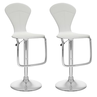 CorLiving Not available 46'' Modern Adjustable Height Leather Bar Stool, White (B-212-VPD)