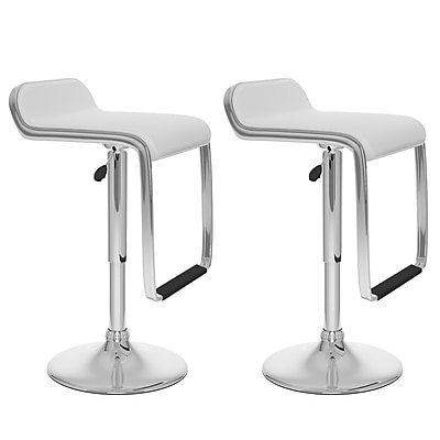 CorLiving™ Leatherette Adjustable Bar Stool with Footrest, White