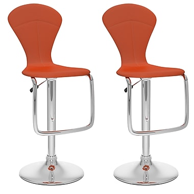 CorLiving Not available 46'' Modern Adjustable Height Leather Bar Stool, Red (B-252-VPD)