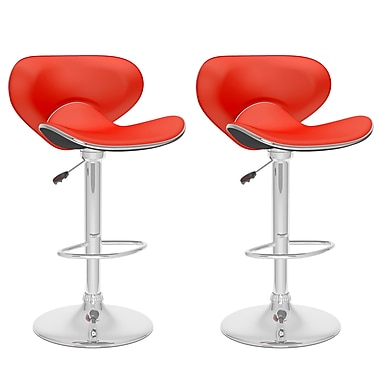 CorLiving™ Leatherette Curved Form Fitting Adjustable Bar Stool, Red