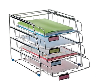 Alba Wire Loading Letter Tray, Chrome