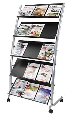 Alba Metal Large Mobile Literature Display, 5-Pocket