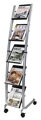 Alba Metal Narrow Mobile Literature Display, 5-Pocket