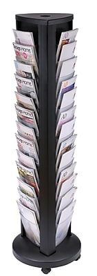 Alba DDTOWER Floor Literature Display with 36 Pockets, Black