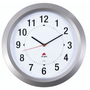 Alba – Grande horloge murale de 15 po, gris argenté, 4/paq.