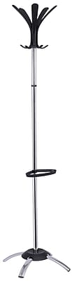 Alba Fashionable Coat Stand with Black Coat Pegs, Chrome