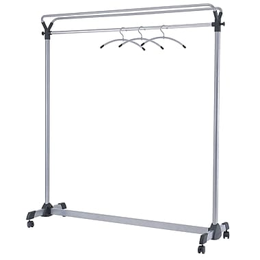 Alba High Capacity Mobile Garment Rack, Chrome and Silver Grey