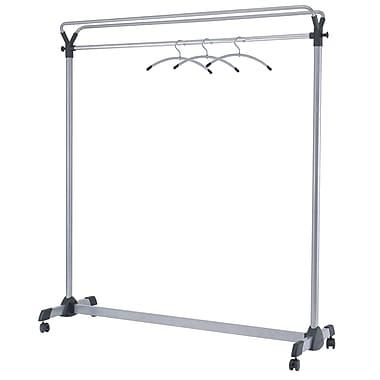 Alba – Support à vêtements à grande capacité mobile, chrome et gris argenté