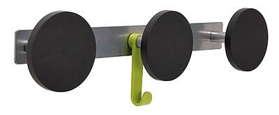 Alba Innovative Triple Plastic Knob Coat Rack with 1 Plastic Hook, Metallic Gray with Black Accents