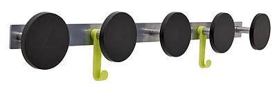 Alba Innovative Five Plastic Knob Wall Coat Rack, Metallic Gray with Black Accents