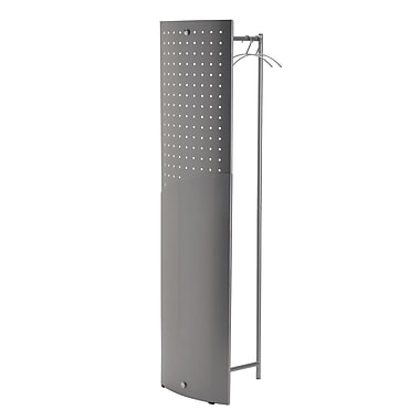 Alba Garment Rack with Metallic Panel, Includes 6 Metallic Hangers, Silver Grey