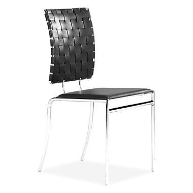 ZuoMD–Chaises en similicuir de la collection Criss Cross, noir, paq./4