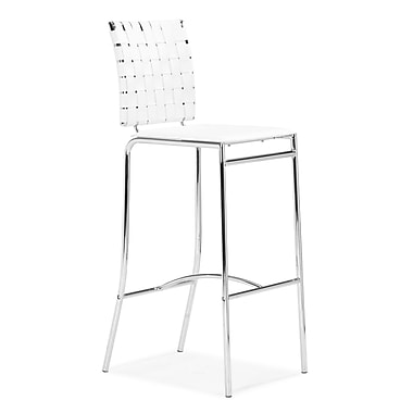 Zuo® Leatherette Criss Cross Bar Chairs, White, 2/Pack