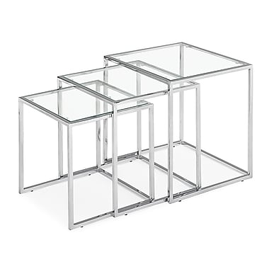 Zuo – Tables gigognes Pasos en verre trempé, transparent