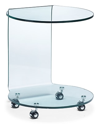 """""Zuo 18 1/2"""""""" x 19 1/2"""""""" Tempered Glass Mission Side Table, Clear"""""" 223328"