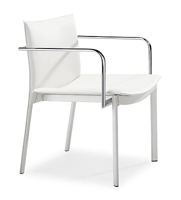 Zuo Gekko Steel Conference Chair, White, 2/Pack (404142)