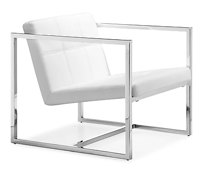 Zuo Carbon Steel Lounge Chair, White (500074)