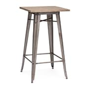 "Zuo® Titus Elm Wood Bar Table, 23.8"" x 23.8"", Rustic Wood"
