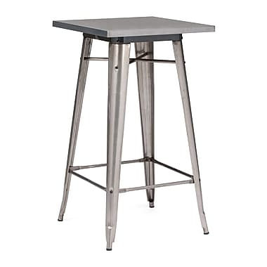ZuoMD – Table style bar en acier de la collection Olympia, 23,8 x 23,8 po, fini bronze industriel