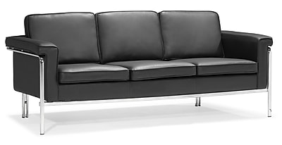 Zuo® Leatherette Singular Sofa, Black