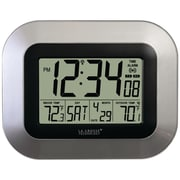 La Crosse Technology Digital Atomic Wall Clock with Temperature, Silver (WS-8115U-S)