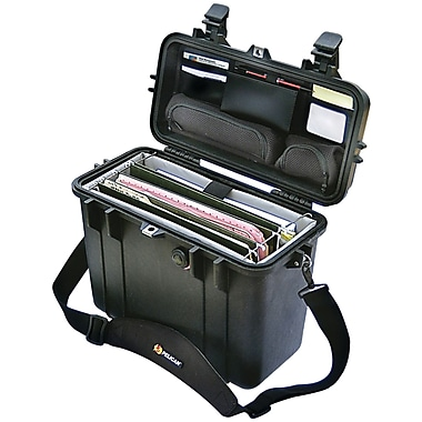 Pelican Top Loader Laptop Hard Case With Office Divider Set With Pick 'N' Pluck Foam Liner, Black