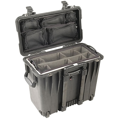 Pelican Case With Utility Padded Divider and Lid Organizer, Black