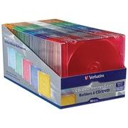 Verbatim – Boîtier CD/DVD mince, couleur variée, 50/paquet (VTM94178)