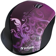 Verbatim ® 97783 Design Series USB Wireless Notebook 3-Buttons Optical Mouse, Purple