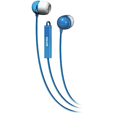 Maxell Stereo In-Ear Earbud with Mic and Remote, Blue (MXL190301)