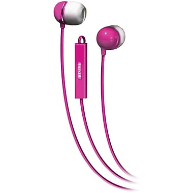 Maxell Stereo In-Ear Earbud with Mic and Remote, Pink (MXL190304)