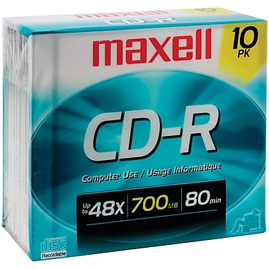 Maxell MXLCDR8010PK 700 MB CD-R Jewel Case, 10/Pack