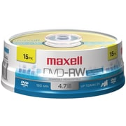 Maxell® 4.7GB DVD-RW, Spindle, 15/Pack