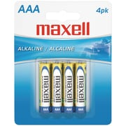 Maxell® LR034BP AAA Alkaline Battery, 4/Pack