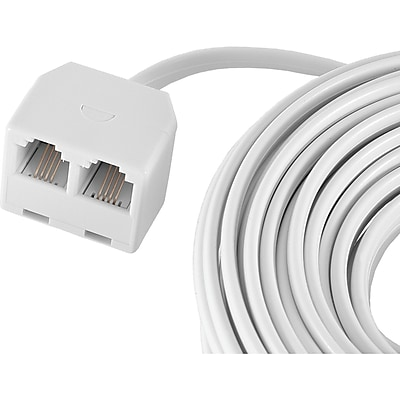 GE 25' 4 Conductor Dual Jack Cord, White