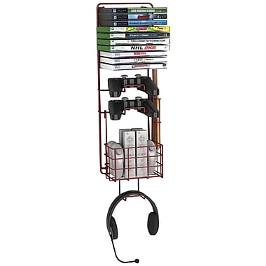 Atlantic Compact Wall Mount Game Rack, Deep Red Metallic