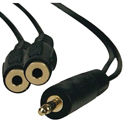Tripp Lite P313 1' Mini Stereo Dubbing Cord Y-Adapter, Black