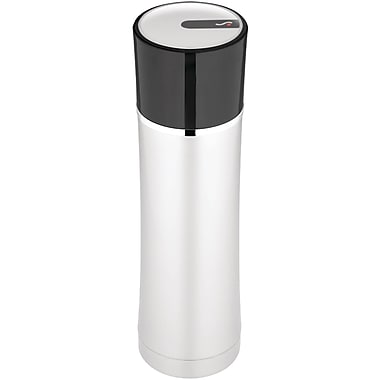 Thermos® Sipp 16 oz. Stainless Steel Compact Beverage Bottle with Black Lid, Black/Silver