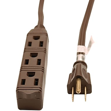 GE 8' 3 Outlet Grounded Office Cord, Brown (JASHEP50670)