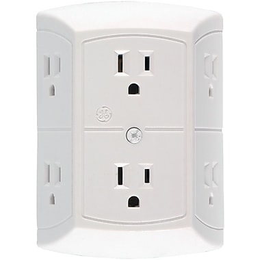 GE 15 Amp 6 Outlet In-Wall Adapter, White (JASHEP50759)