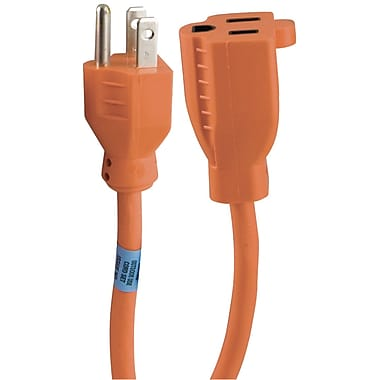 GE 25' 1 Outlet Indoor/Outdoor Extension Cord, Orange (JAS51924)