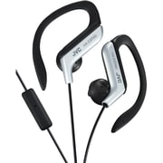 JVC HA-EBR80S Stereo Sport-clip In-Ear Headphone with Mic and Remote, Silver
