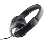 iLive IAHV62B Over-Ear DJ Headphone with Volume Control, Black/Red