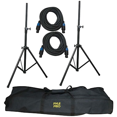 Pyle® Pro PMDK101 Heavy Duty Aluminum Anodizing Dual Speaker Stand and 21' Speakon Cable Kit