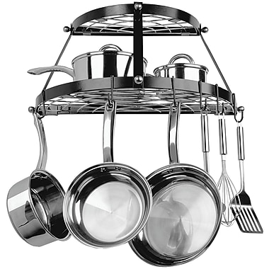 Range Kleen Two Shelf Wall Mount Pot Rack, Black (RKNCW6002R)